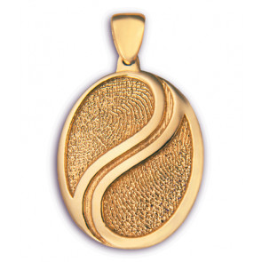 Classic Large Yin Yang Fingerprint Charm with Fingerprints in 14k Yellow Gold