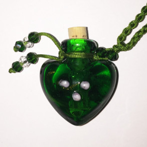 Green Heart Glass Bottle Cremation Pendant that holds the ashes of your loved one