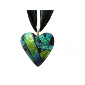 Heart Dichroic Glass Pendant #03
