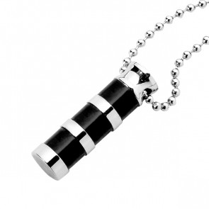 Black Bamboo Cylinder Cremation Pendant