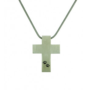 Pewter Cross with Paw Prints Cremation Pendant