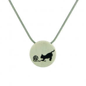 Pewter Round Cremation Pendant with Cat and Yarn