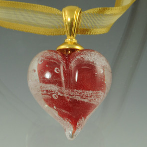 Loving Memory Heart Cremation Pendant - Red