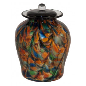 Luce Autumn Hand Blown Glass Cremation Urn