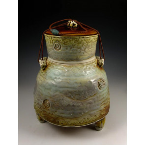 The Ocher Blue Soda Fired Ceramic Cremation Urn
