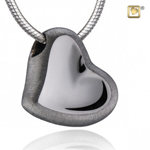 Silver Satin Leaning Heart Two Tone Cremation Pendant