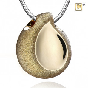 Gold TearDrop Two Tone Cremation Pendant