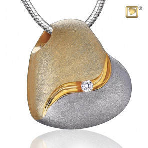 Gold Heartfelt Two Tone Cremation Pendant