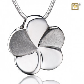 Silver Flower Bloom Two Tone Cremation Pendant
