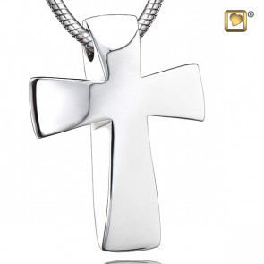 Silver Modern Cross Cremation Pendant
