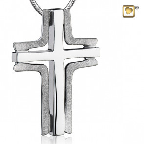 Silver Elegant Cross Two Tone Cremation Pendant