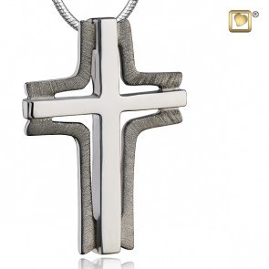 Silver Satin Elegant Cross Two Tone Cremation Pendant