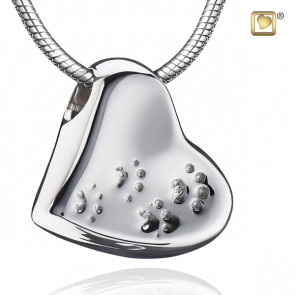 Silver Leaning Heart with Paw Prints Cremation Pendant