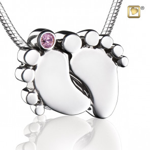Baby Feet Cremation Pendant with Pink Crystal