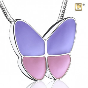 Wings of Hope Lavender and Pink Butterfly Cremation Pendant