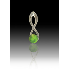 Infinity Glass Bead Pendant - Peridot - Sterling Silver
