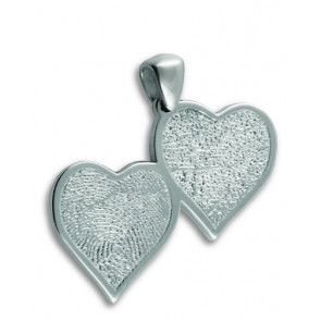 Double Heartfelt Fingerprint Charm in Sterling Silver