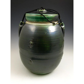 The Dark Jade Soda Fired Ceramic Cremation Urn