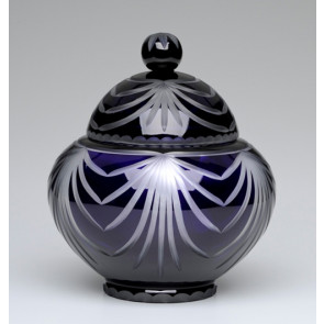 Majestic Angel Navy Blue Lead Crystal Glass Cremation Urn for Ashes