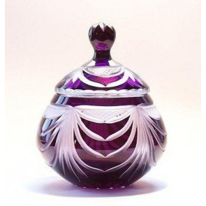 Angel Wings Dark Amethyst Lead Crystal Glass Cremation Urn for Ashes