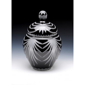 Angel Wings Black Lead Crystal Glass Cremation Urn for Ashes