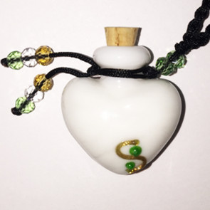 White Heart Glass Bottle Cremation Pendant for Ashes