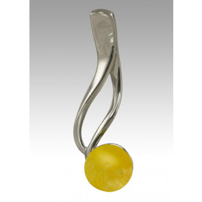 Tempo Glass Bead Cremation Pendant - Yellow - Sterling Silver