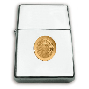 Zippo Lighter with 14k Yellow Gold Fingerprint